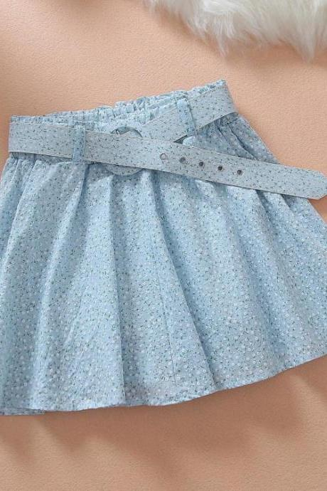 Light Blue Floral Printed Skirt with Round Buckle Belt