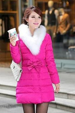 Faux Fur Collar Design Warm Winter Coat In Rose Red