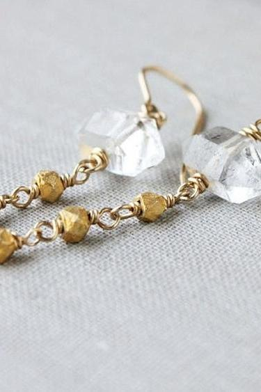 Quartz point earrings, Herkimer quartz, gold crystal rough raw stones, spring 2012 fashion