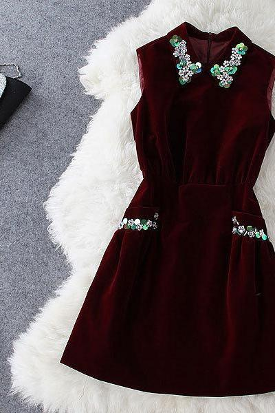 Fashion Style Beaded Dress SA710FF
