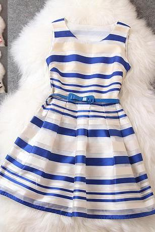 Navy Stripe Design Stitching Sleeveless Dress
