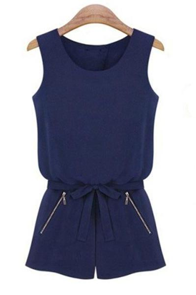 Slim Solid Color Sleeveless Fashion Casual Jumpsuit