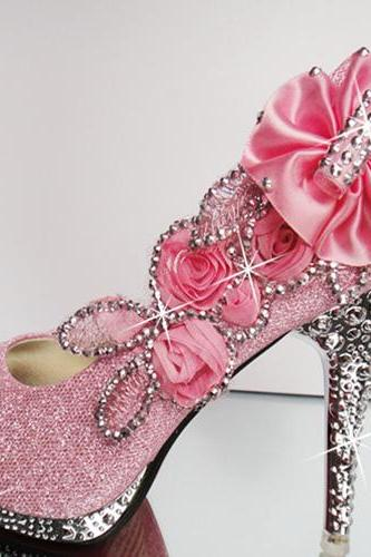 Pink Floral And Bling Design High Heels Fashion Shoes