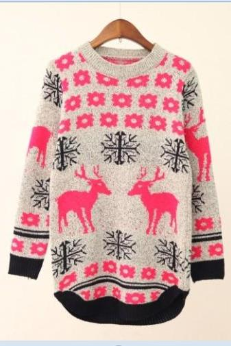 Women 'S Fashion Lovely Students Deer Long Sweater/Pullover,