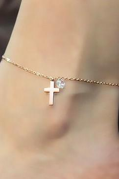 Fashion Cross Anklet With Rhinestone