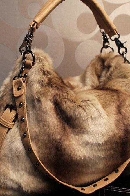 Large Brown Beige Khaki Brown Purse Shoulder Bag-Large Bags-Rabbit Fur Bags-Rabbit Hair Soft Messenger Bags
