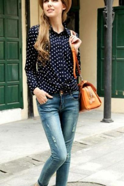 Polka Dots Blouse Long Sleeve navy Blue Polka Dots Country Blouse-READY TO SHIP-Receive after 2-3 days