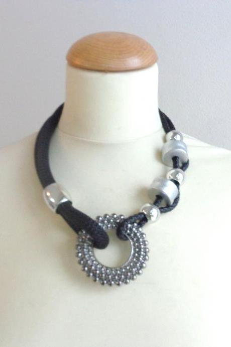 Tribal black grey statement necklace