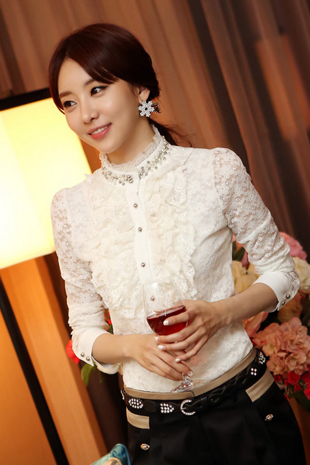 Hitz collar frilly lace shirt bottoming shirt