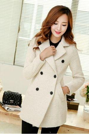 Stand Collar Double Breasted Coat in Beige