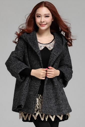 Dark Grey Hooded Winter Coat