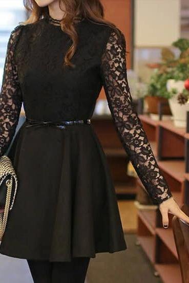 High Quaity Sexy Lace Long Seleeve Ball Gown Knee Length Dress, Black Lace Autumn Dress, Sexy Lace Dress