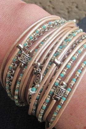 Wrap Bracelet in Pearl Metallic Leather and Turquoise, Pearl, Silver & Champagne Miyuki Beads,