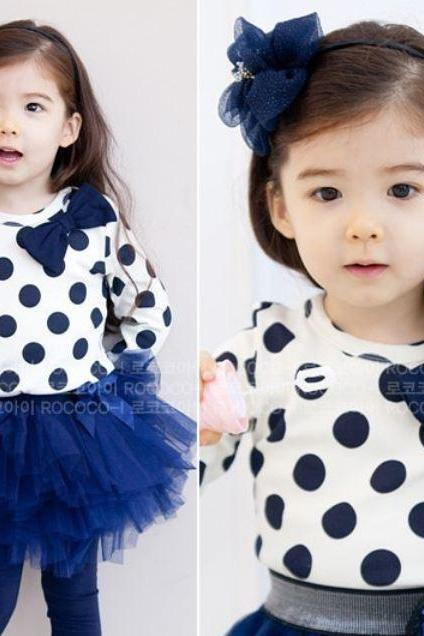 Cute Navy Blue Polka Dots Clothing Set for Girls 5T,6 years Old Girls 3T Toddler Girls