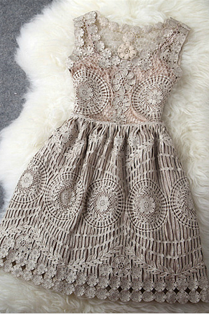 Vintage Gold Thread Hollow Out Embroidery Slim Dress #GH111308TR