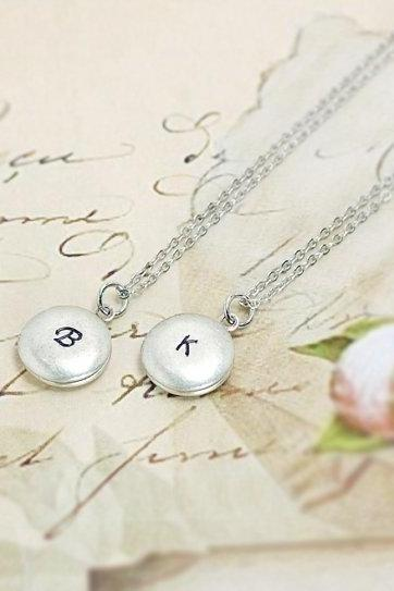 Cursive Initial Locket Necklace, Block Letter Initial Necklace, Personalized Locket Necklace, Hand Stamped Initial Locket