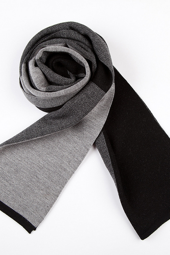 Wool Autumn / Winter Scarf - Gray / Brown