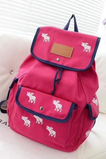 Cute Leisure White Deer Mixing Color Canvas Backpack - Rose Red