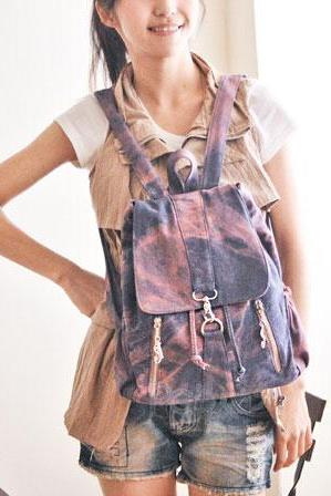 Fashion Cowboy Style Simple Zip Denim Backpack
