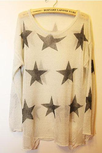 Fashion Loose Fitting Star Print Knit Sweat - Apricot