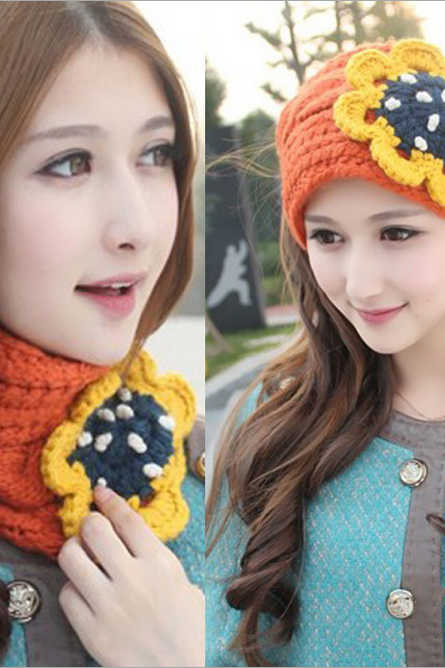 The winter of two with bonnet Bib big flower candy color knitting Mao Xianmao