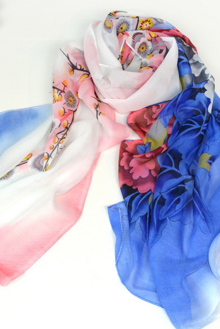 Autumn winter new lady Scarf Shawl dual-purpose long paragraph Chiffon scarves female flowers rich