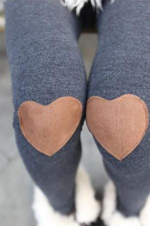 Red Heart Patched Leggings Tight