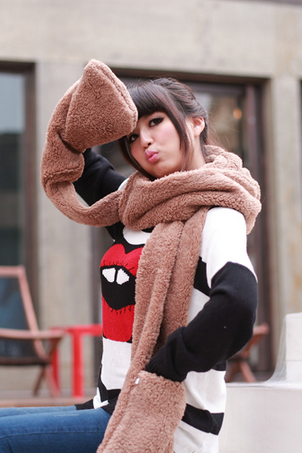 Autumn and winter lamb fleece hooded Plush thickened lovers scarf scarf hat gloves together