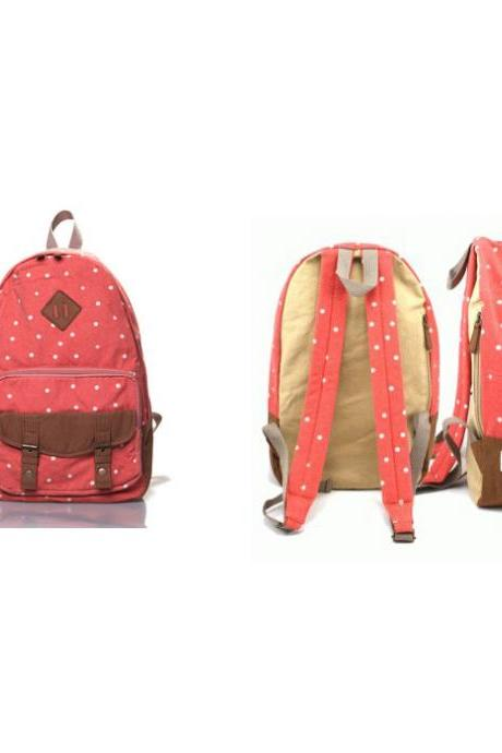 Sweet Cute White Tiny Dot Canvas Backpack - Watermelon Red