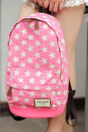 Sweet European Style Star Print Denim Backpack - Pink