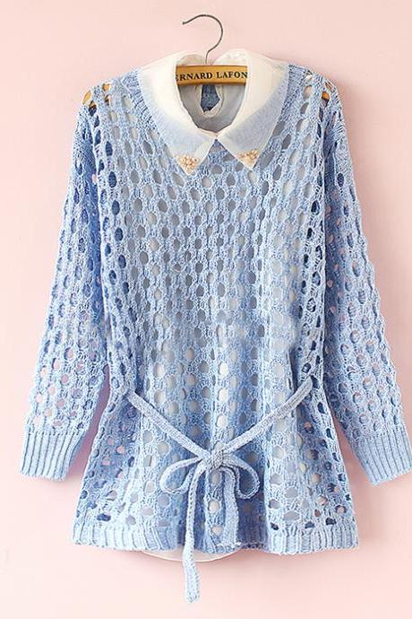 Chiffon Long-sleeved Hollow Sweater CA922C