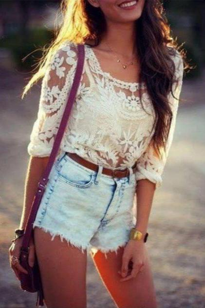 CUTE LACE BLOUSE AEBGDE