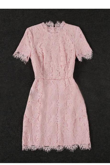Elegant Flower Lace Pink Dress