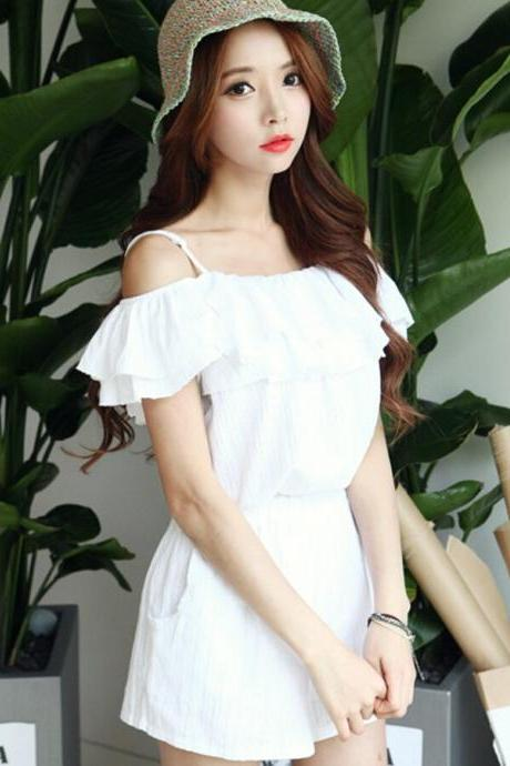 White Cold Shoulder Short Jumpsuit Romper #BA808H