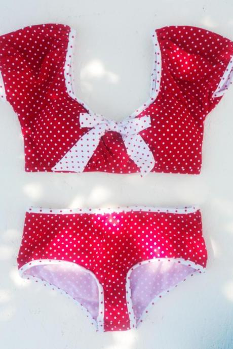 ON SALE!! Cute & Playful Crop Top design two pieces Bikini for polka dots lovers!