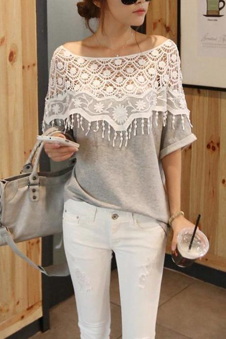 Fashion Lace Hollow T-Shirt