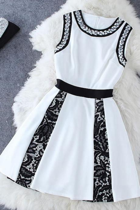Embroidered Drill Lace Splicing Dress AB830A