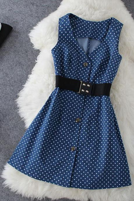 Fashion Polka Dot Denim Dress J707DC
