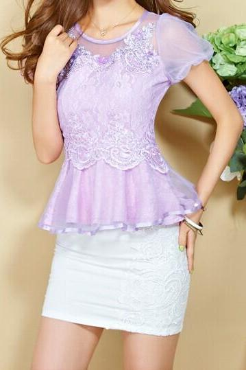 Fashion Round Neck Flounced Chiffon Shirt GD0702FG