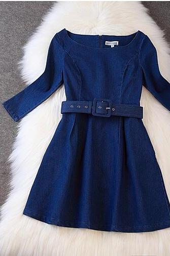 Sleeve Dress Denim Skirt AZ901DH