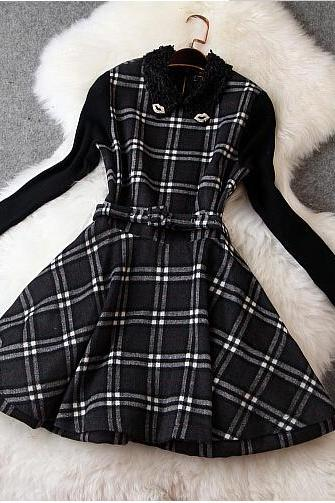 Slim Long-sleeved Plaid Dress CA922DJ