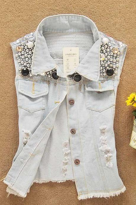 Slim Sleeveless Vest Shirt Jacket JW05088