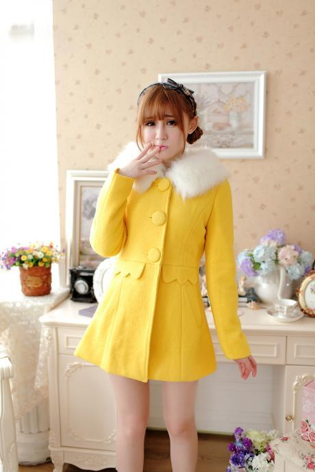 Cute Faux Fur Design Hooded Winter Coat