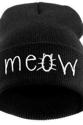 Meow print winter accessories cat girl hat