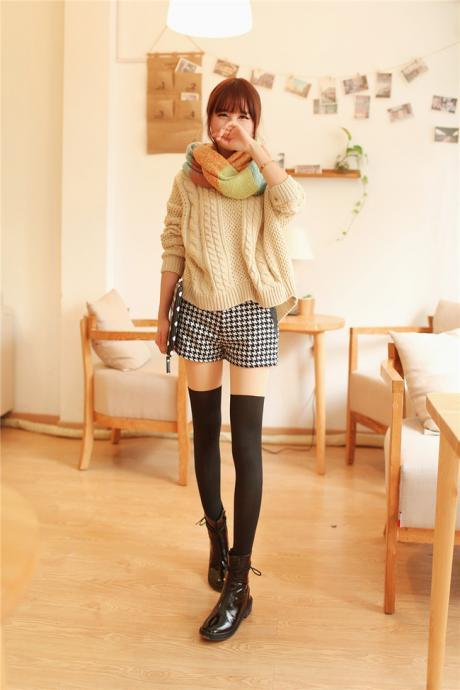 Kawaii Slim fit Black Warm Winter Leggings