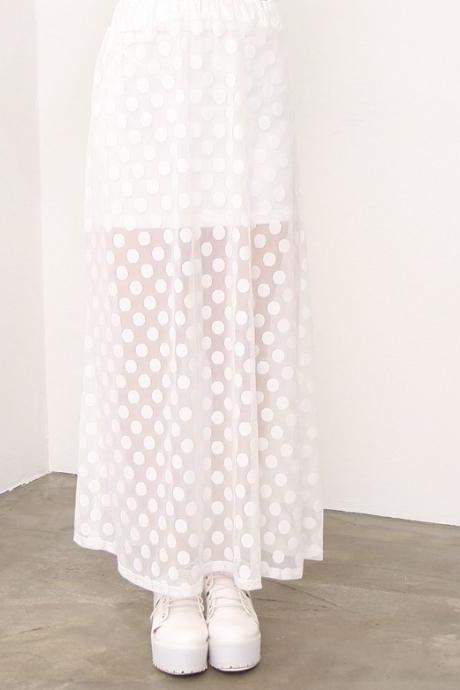 Retro Polka Dot Perspective Gauze Skirt Azb