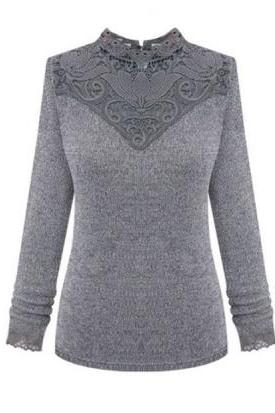 Lace Long Sleeve Pullover Sweaters