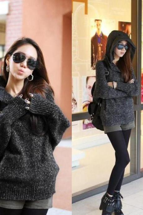 Loose Betwing Sleeve Knitting Hooded Sweater