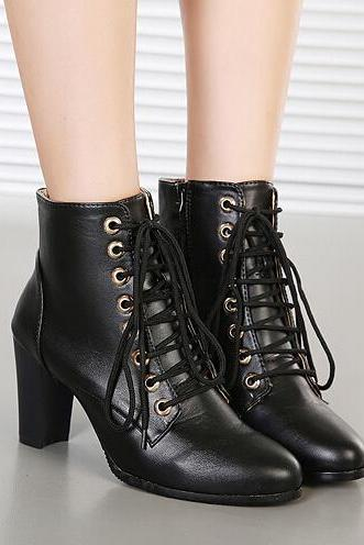 Black Faux Leather Pointed-Toe Lace-Up Chunky Heel Ankle Boots