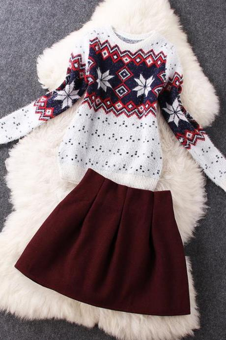 Snowflake Sweater Woolen Red Skirt ( Two-Piece )